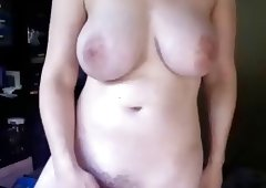 Big tit chick, hairy twat flops her tits around on cam