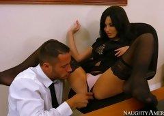 Thirsting guy eats sweet pussy of sexy dark brown sweetie Anissa Kate
