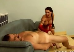 Devilish mistress Cony is performing hawt sloppy blowjob