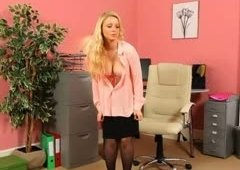 Blond secretary in stocking teasing
