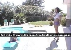 Awesome big boobed wife outside in the pool