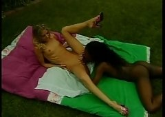 Horny interracial MILF licks on immature wet cum bucket outdoors
