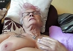Very grown-up German granny & her saggy tits