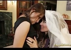 cute Bride is having lesbian babes sex