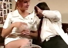 Red haired busty nurse Dianna acquires her hairy kitty licked a lot