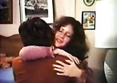 Dark Brown MILF kisses dude while golden-haired housewife gives him solid BJ