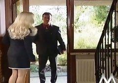Breasty golden-haired haired hottie is gonna seduce her next door man at kitchen